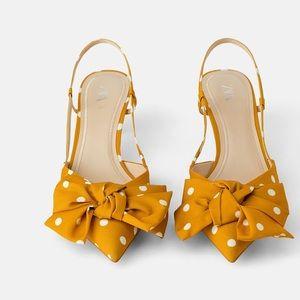 Zara polka dot tie heels 👠